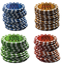 Poker chips column set isolated on white vector