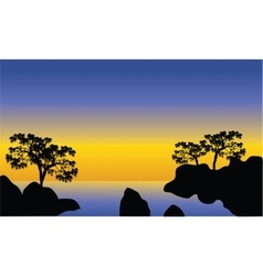 Silhouette of sea and rock vector