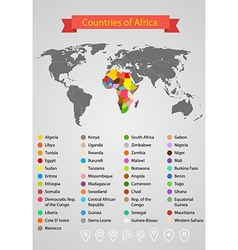 World map infographic template Countries of Africa vector image