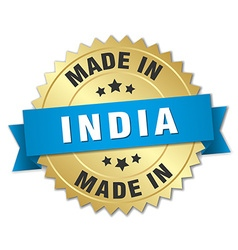 Made in india gold badge with blue ribbon vector