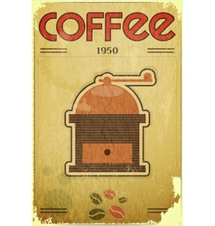 coffee mill on vintage background vector image