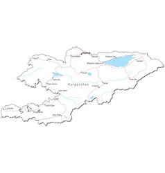 Kyrgystan Black White Map vector image