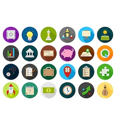Business round strategy icons set vector