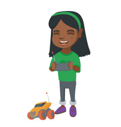African girl playing with a radio-controlled car vector