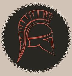 Ancient greek battle helmet vector