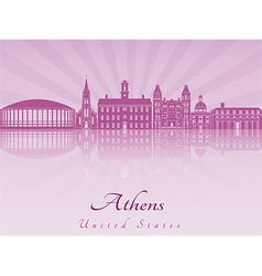 Athens skyline in purple radiant orchid vector
