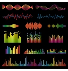 Audio signal and music waves set vector