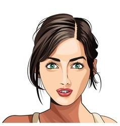 Beauty girl face lipstick hair tied vector