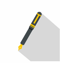 Black fountain pen icon flat style vector