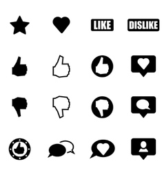 Black like icon set vector