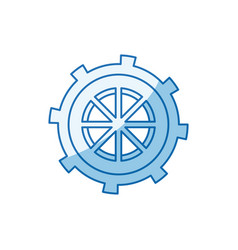 Blue color shading silhouette gear wheel in shape vector