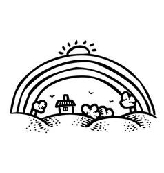 Cartoon image of rainbow icon vector