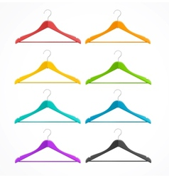 Coat hanger wood set isolated on white rainbow vector