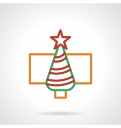 Color simple line New Year tree icon vector image vector image