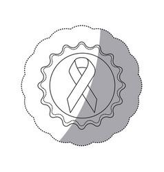 Contour emblem with breast cancer symbol vector