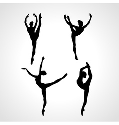 Creative silhouettes of 4 gymnastic girl art vector