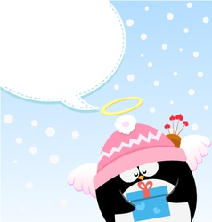 Cupid Penguin Message vector image