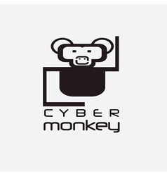 Cyber monkey computer shop design template vector