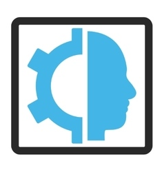 Cyborg gear framed icon vector