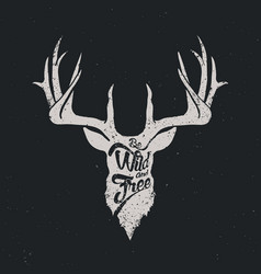 deer be wild and free invert vector image vector image