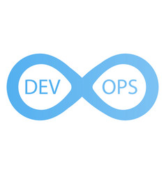 devops logotype sign of infinity with arrows blue vector image vector image