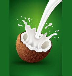 Fresh coconut milk splash on green background vector