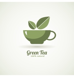 Green tea cup leaf design icon vector image