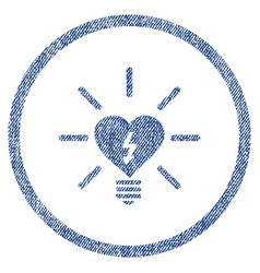 Heart electric bulb rounded fabric textured icon vector