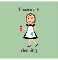 Housekeeper woman cleaning icon vector
