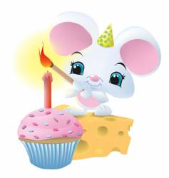 mouseandcupcake vector image vector image