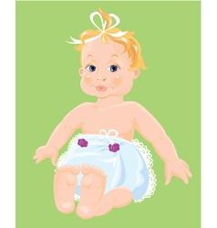 Red hair baby girl dressing pampers isolated o vector