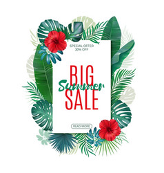 sale banner poster with exotic leaves jungle vector image vector image