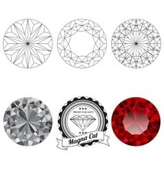 Set of magna cut jewel views vector