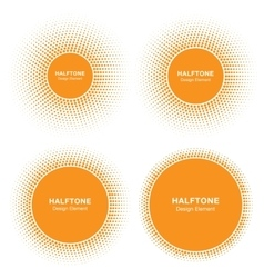 Set of Sun Circle Halftone Logo Elements vector image