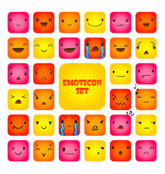 Set square emoticons 4 vector
