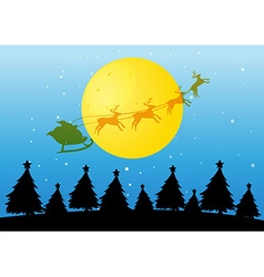Silhouette Christmas tree and Santa vector image vector image
