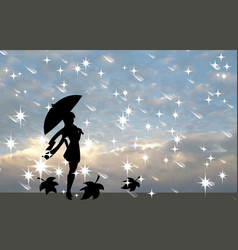 Silhouette of a girl with an umbrella against the vector image