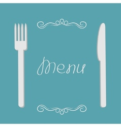 Silver fork and knife Menu cover in flat design vector image vector image