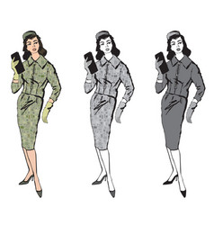 stylish cloth woman fashion dressed girl 1960s vector image vector image
