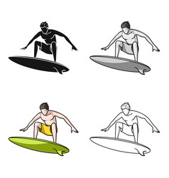 surfer in action icon in cartoon style isolated on vector image