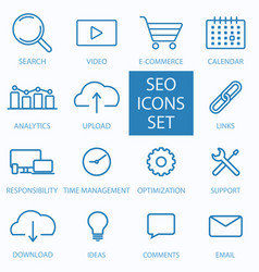 Thin line seo and web optimization icon vector