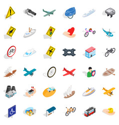 Transport on road icons set isometric style vector