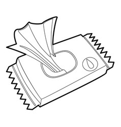 Wet wipe pack icon outline vector