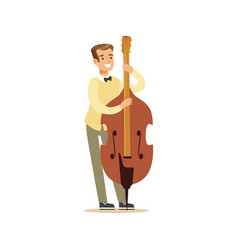 Young cellist playing cello vector