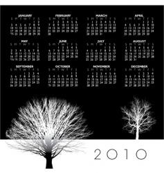 2010 trees calendar vector image