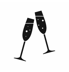 Two glasses of champagne icon simple style vector