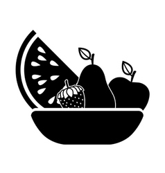 Silhouette monchrome basket with fruits vector