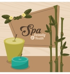 Spa beauty and health aroma candles with bamboo vector