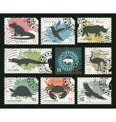 stamps on animals and birds vector image