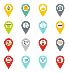 points of interest icons set in flat style vector image